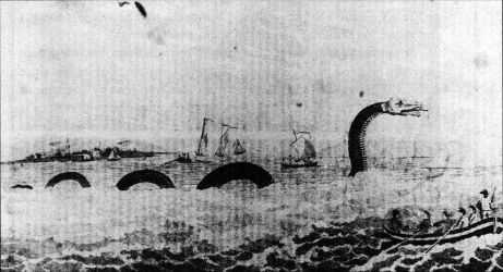 The first American sea-monster, sighted off Cape Ann, Massachusetts
